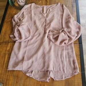 Tops - Deep rose taupe blouse